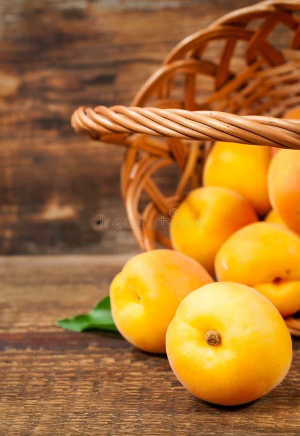 Reife Aprikosen in einem Korb lizenzfreie stockbilder