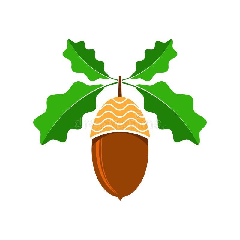 Reife Eichel-Ikone Autumn Oak Nut- und Blatt-Logo vektor abbildung