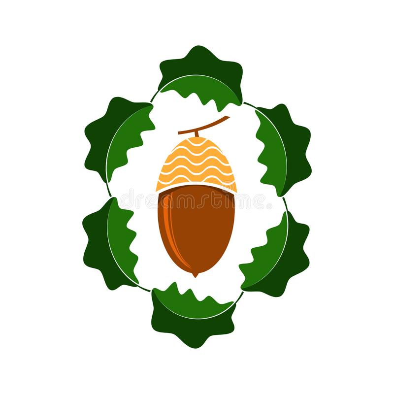 Reife Eichel-Ikone Autumn Oak Nut- und Blatt-Logo lizenzfreie abbildung