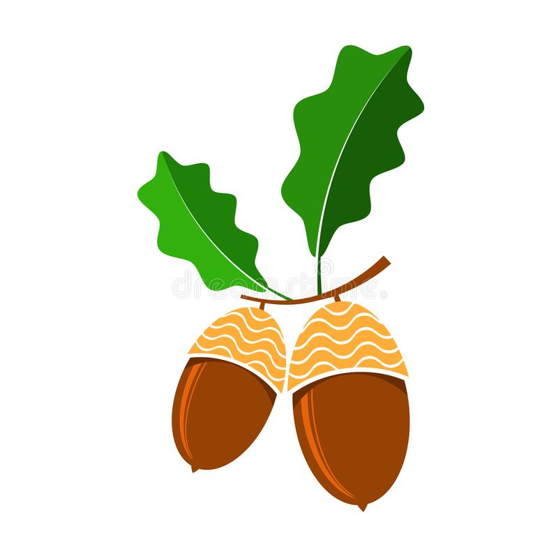 Reife Eichel-Ikone Autumn Oak Nut- und Samen-Logo vektor abbildung