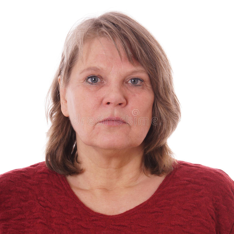 Aufschlussreiches Gesicht Der Ernsten Reifen Frau Hinter