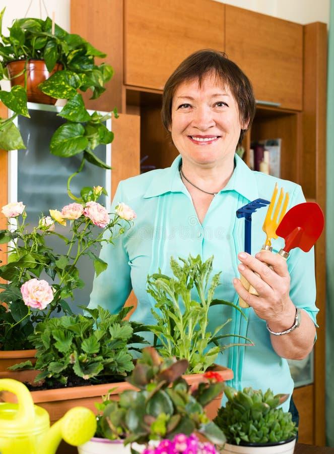 Reife Frau, die mit frischen Blumen in den Töpfen arbeitet lizenzfreie stockfotos