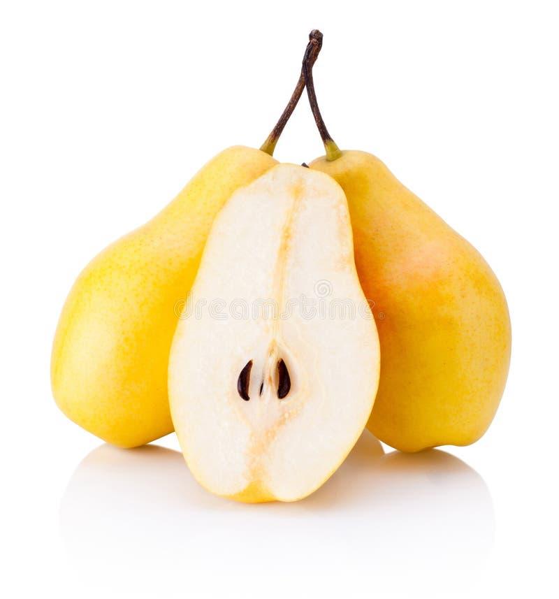 Reife gelbe Birnenfrüchte lokalisiert auf weißem Hintergrund lizenzfreie stockfotografie