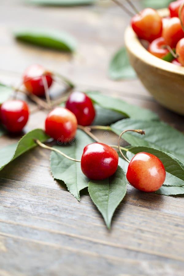 Reife Kirschen der saftigen frischen geschmackvollen Beeren stockfotografie