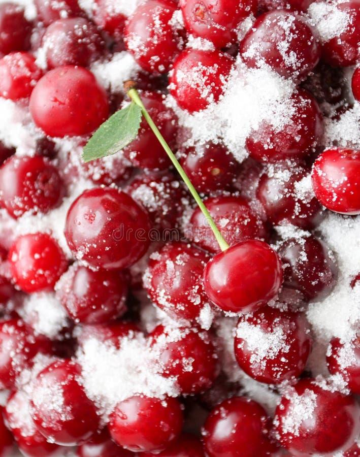 Reife Kirschen werden mit Zucker für das Einmachen bedeckt Saftiger, heller Hintergrund lizenzfreies stockfoto