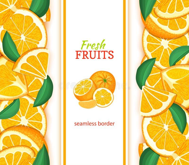 Reife orange vertikale nahtlose Grenze Vector Illustrationskarte mit saftigen frischen Mandarinenfrüchten Scheibe, Blatt der Zusa lizenzfreie abbildung