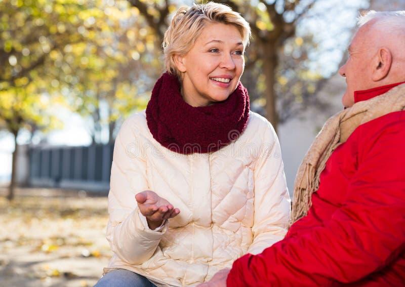 Reife Paare, die im Park sprechen lizenzfreies stockbild