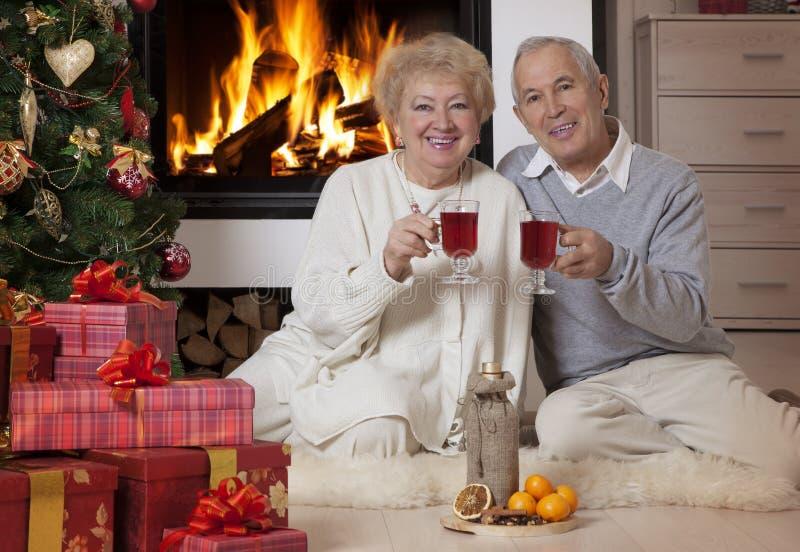 Reife Paare, die Weihnachten feiern lizenzfreie stockfotos
