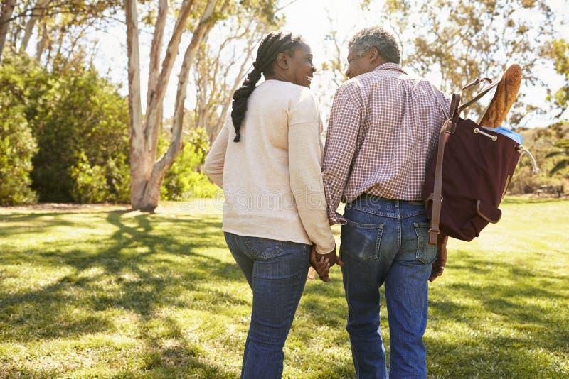 Reife Paare, die zusammen auf Picknick im Park gehen stockbilder