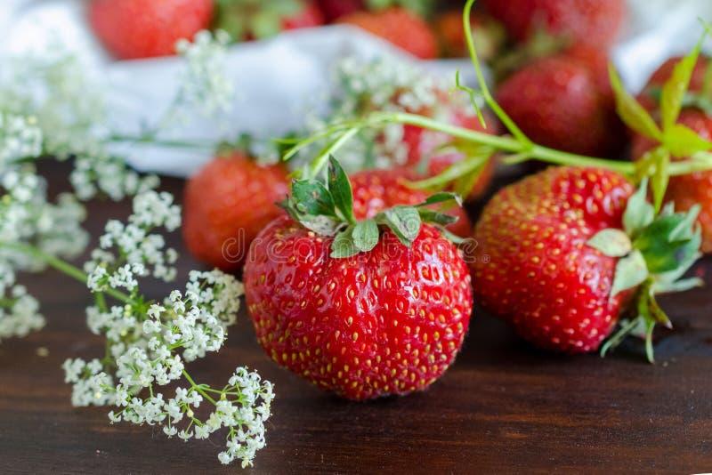 Reife rote Erdbeeren und weiße wilde Blumen im Sommer lizenzfreies stockfoto