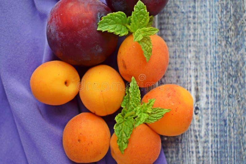 Reife, süße Aprikosen und Pflaumen stockbilder