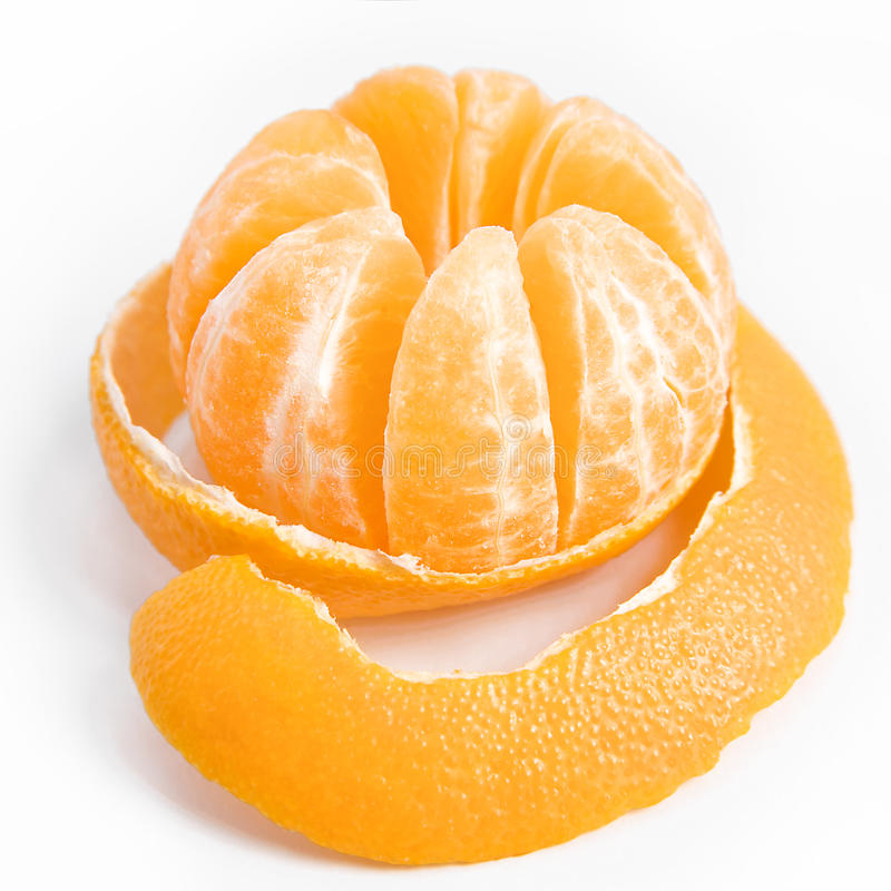 Reife süße Tangerine mit abgezogener Haut stockfotografie