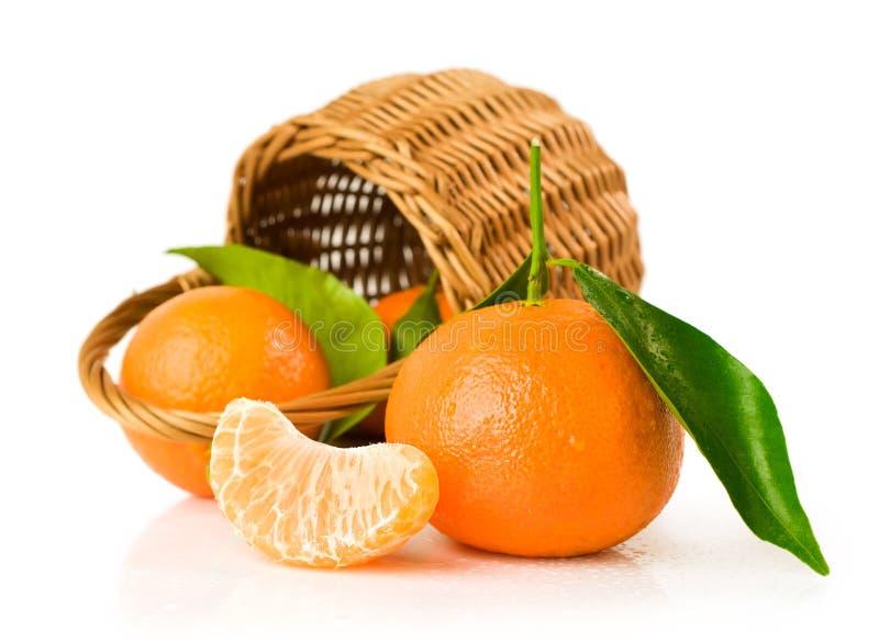 Reife Tangerinen mit Korb stockfoto