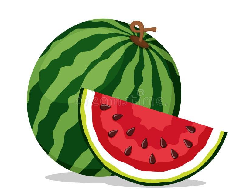 Reife Wassermelone und saftiges Stück auf einem weißen Getrennt lizenzfreie abbildung