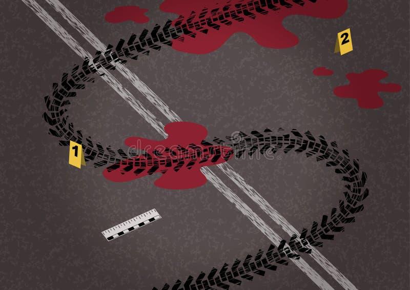 Reifen auf Asphalt und Fahrbahnmarkierungen in Form von Dollar vektor abbildung