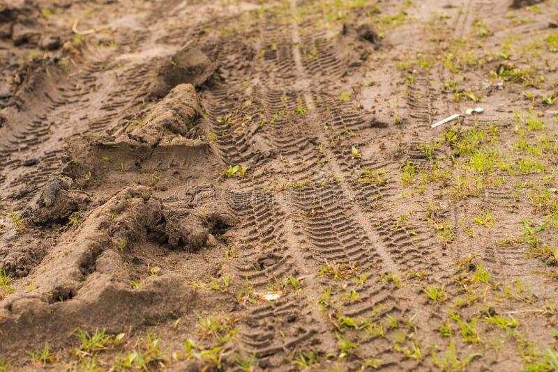 Reifen-Bahnen auf einem Schotterweg stockbild