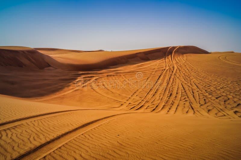Reifen-Bahnen durch die Wüsten-Sanddünen stockfoto