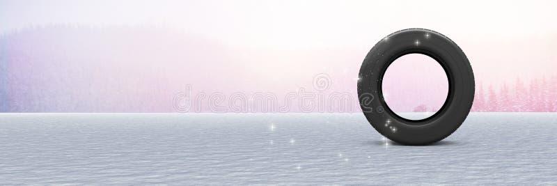 Reifen in der Winterschneelandschaft vektor abbildung