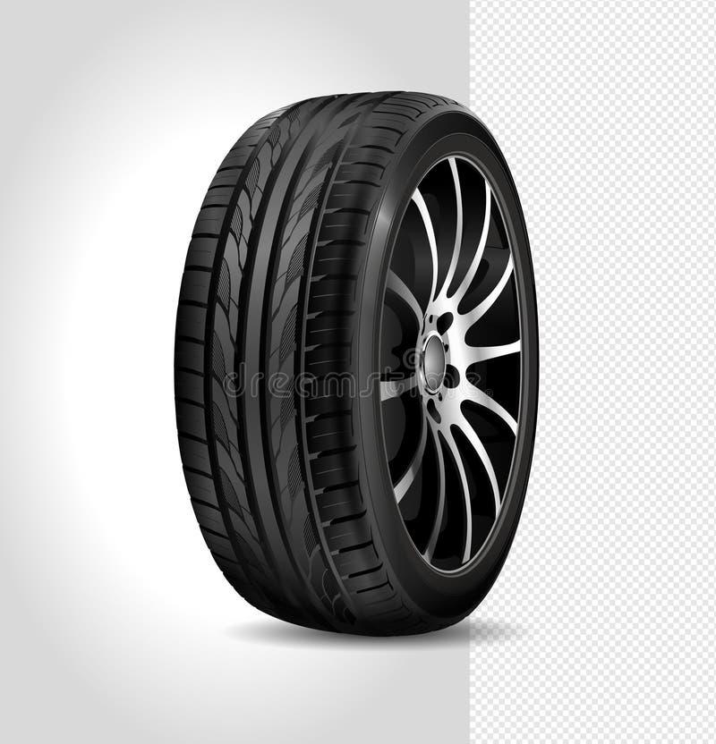 Reifenauto lokalisiert auf weißem Hintergrund Abbildung auf schwarzem Hintergrund Schwarzer Gummireifen Realistisches glänzendes  stock abbildung