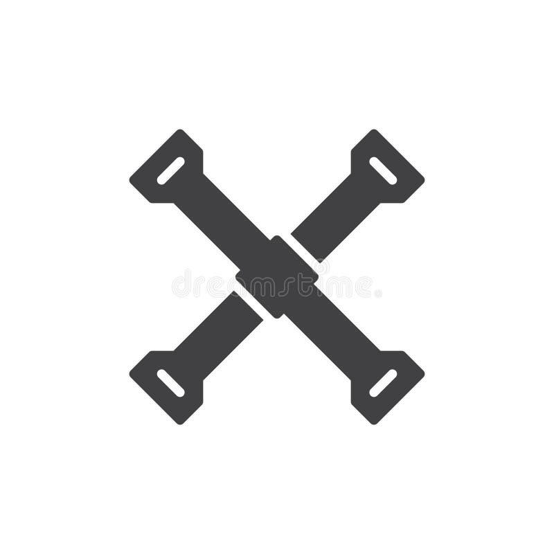 Reifeneisen-Ikonenvektor, gefülltes flaches Zeichen, festes Piktogramm lokalisiert auf Weiß vektor abbildung