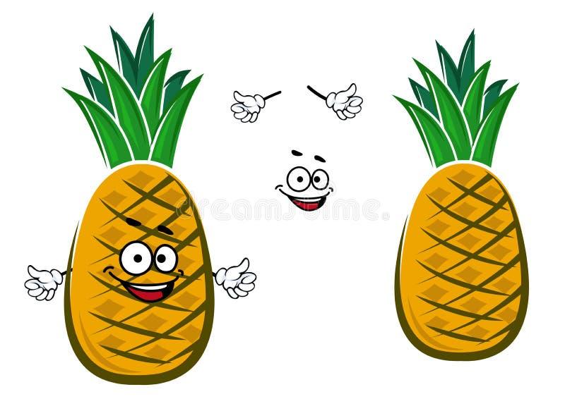 Reifer gelber Ananasfruchtcharakter stock abbildung