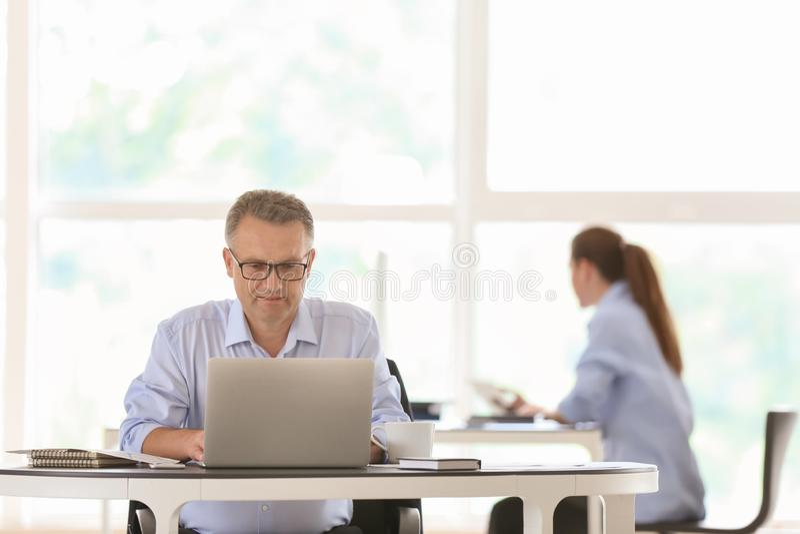 Reifer Gesch?ftsmann, der mit Laptop im B?ro arbeitet stockfotografie