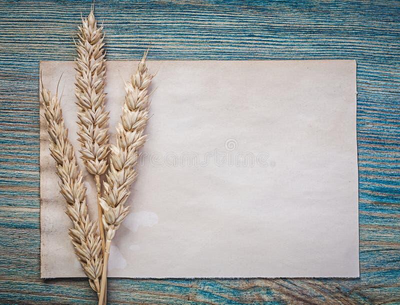 Reifes Brotroggenohr-Weinleseleeres blatt des Papiers auf hölzernem Brett t lizenzfreies stockbild