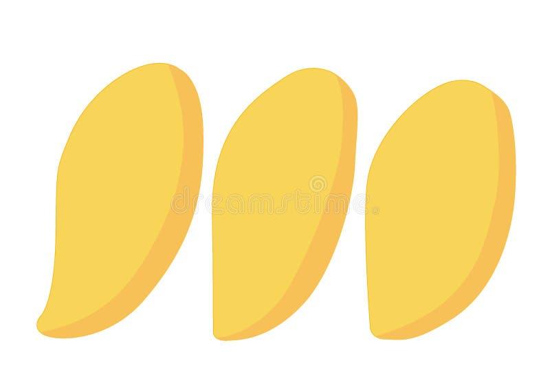 Reifes Gelb der Mango lokalisiert auf weißem Hintergrundillustration Vektor stock abbildung