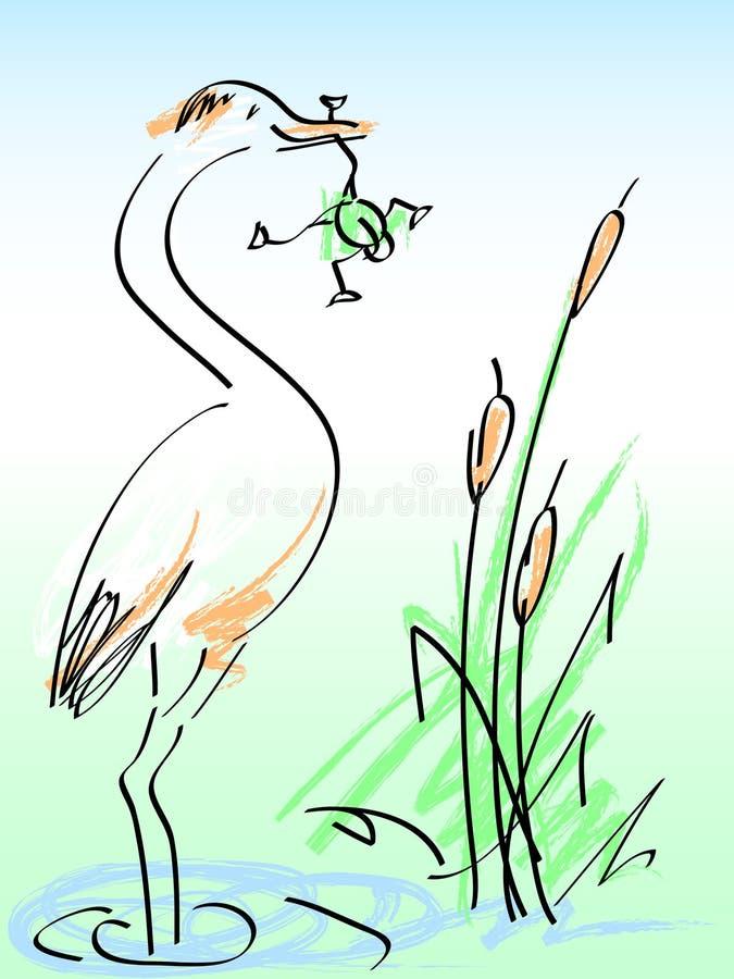 Reiger en kikker stock illustratie