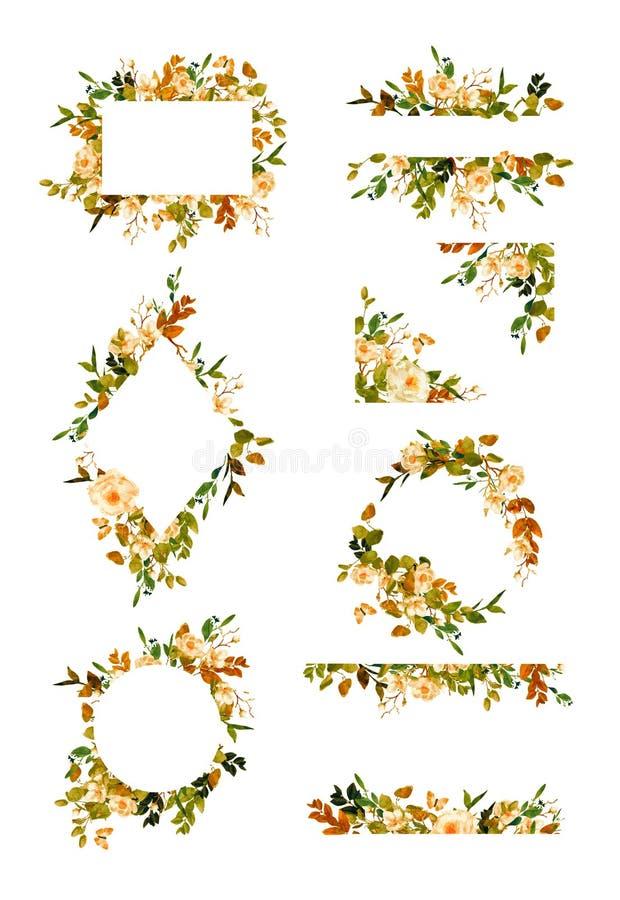 Reihe Blumenrahmen und Kränze lizenzfreie abbildung