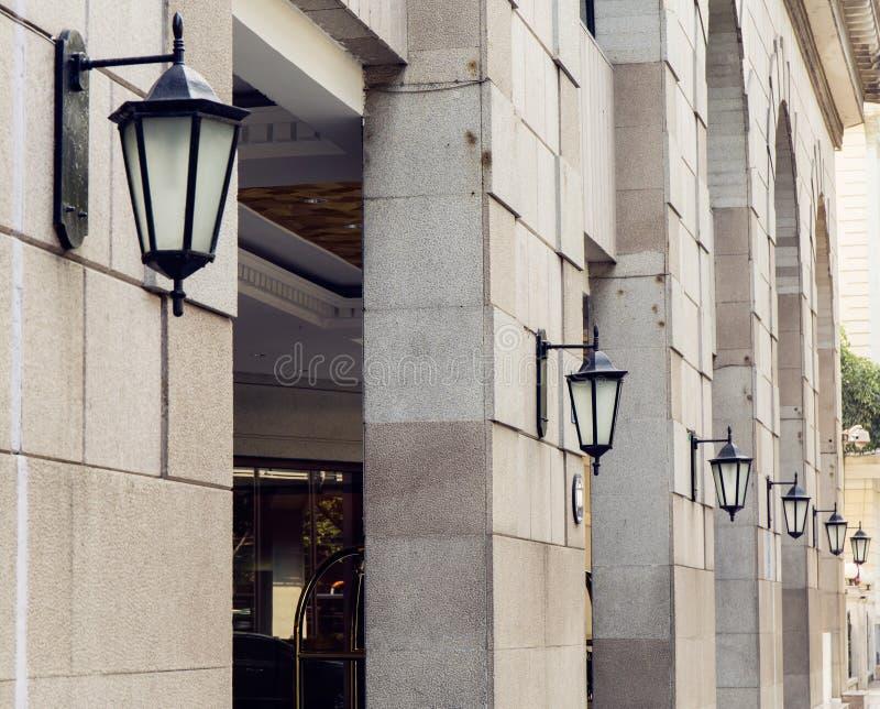 Reihe der alten Wandleuchte mit klassischer Art, Weinlesewandlampe, dekorative Wandlampe der alten Mode stockbild