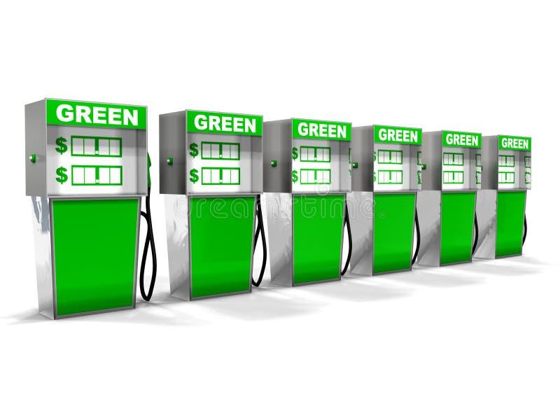 Reihe der grünen Gas-Pumpen stockfoto