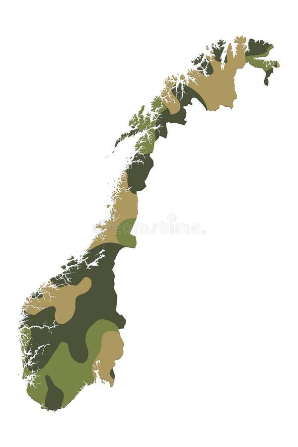 Reihe der Grenze formte ebenso gekräuselte Flaggen - Norwegen im camo stockbild