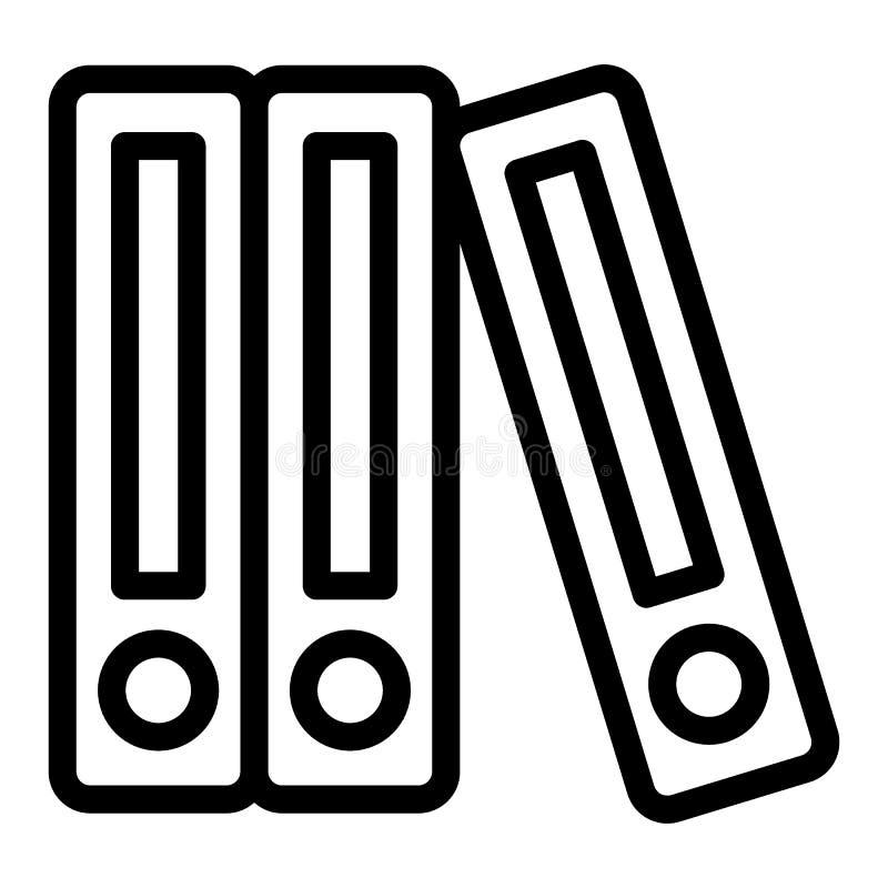 Reihe der Mappenlinie Ikone Mappenvektorillustration lokalisiert auf Weiß Büroordnerentwurfs-Artdesign, entworfen lizenzfreie abbildung