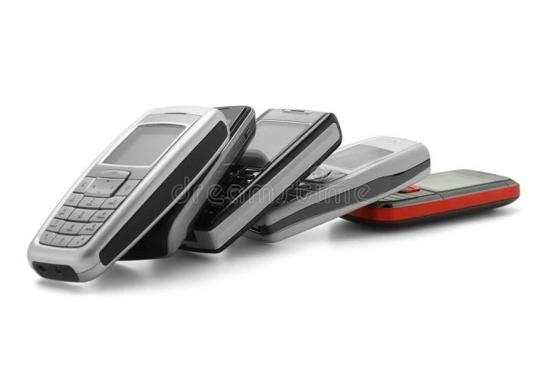 Reihe der sortierten Mobiltelefone stockfoto