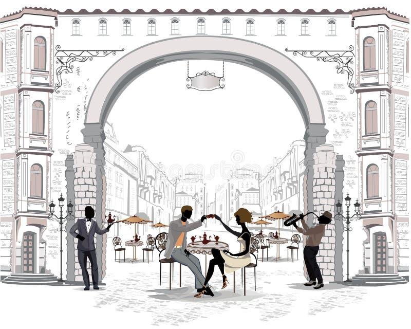 Reihe der Straßen mit Leuten in der alten Stadt, Straßencafé vektor abbildung