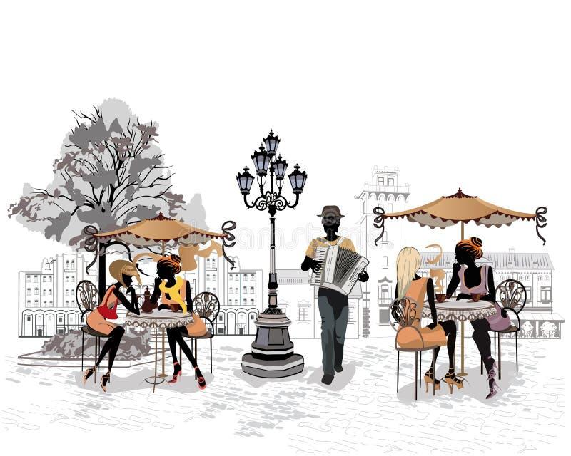 Reihe der Straßen mit Leuten in der alten Stadt, Straßenmusiker mit einem Akkordeon vektor abbildung