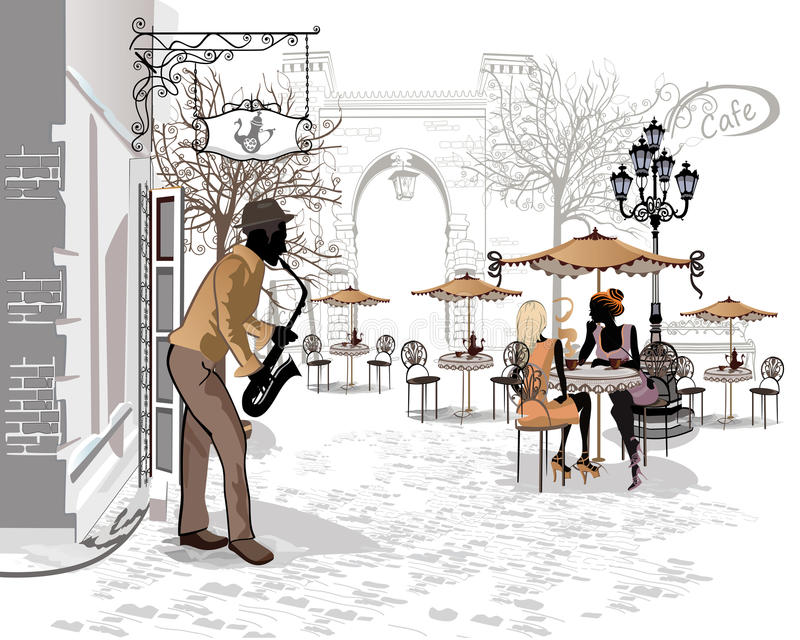 Reihe der Straßen mit Musikern in der alten Stadt vektor abbildung