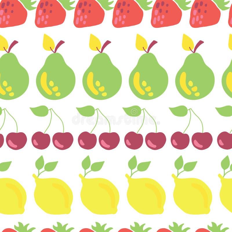 Reihe des nahtlosen Musterweiß des Fruchtvektors vektor abbildung
