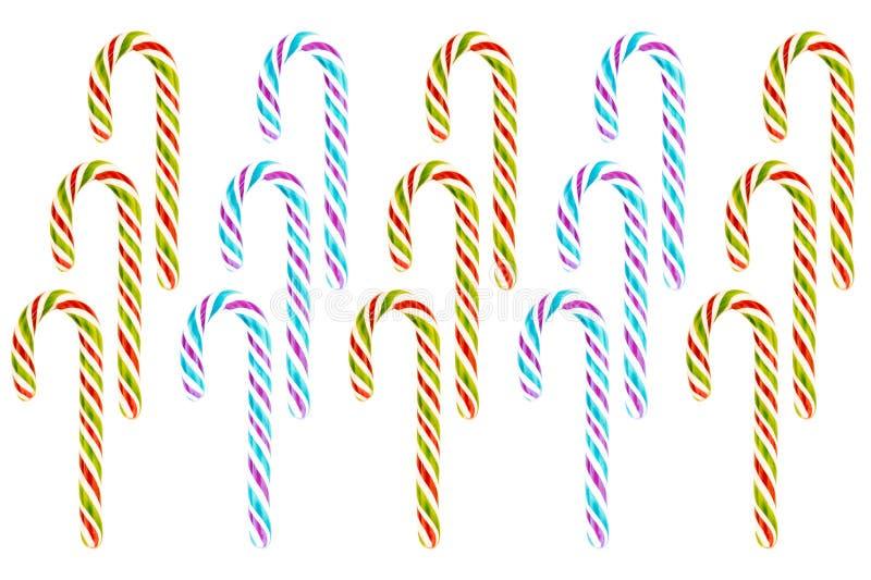 Reihe des vertikalen Zuckerrohrsatzes des endlosen Musters der roten grün-blauen Süßigkeiten des Purpurs drei Weihnachts stockbild