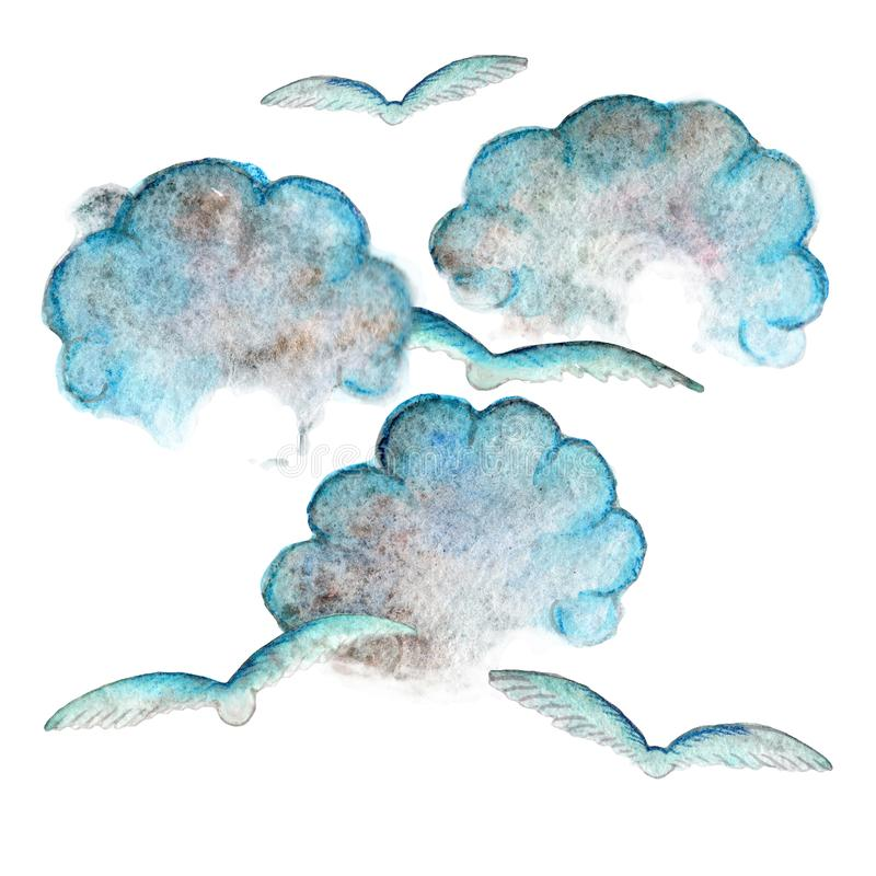 Reihe einfacher Wasserfarbenblauer Wolken und Vögel stock abbildung