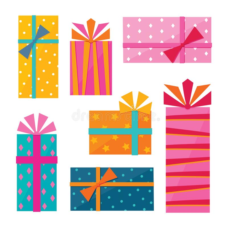 Reihe Illustrationen von Geschenken lizenzfreie abbildung