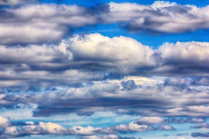 Reihe Kumuluswolken am Sommertag stockbild