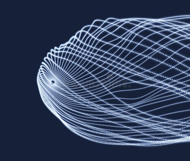 Reihe mit dynamischen Partikeln Art der Technologie-3D entziehen Sie Hintergrund Auch im corel abgehobenen Betrag lizenzfreie abbildung