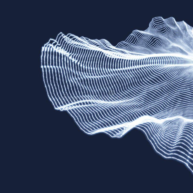 Reihe mit dynamischen Partikeln Art der Technologie-3D entziehen Sie Hintergrund Auch im corel abgehobenen Betrag vektor abbildung