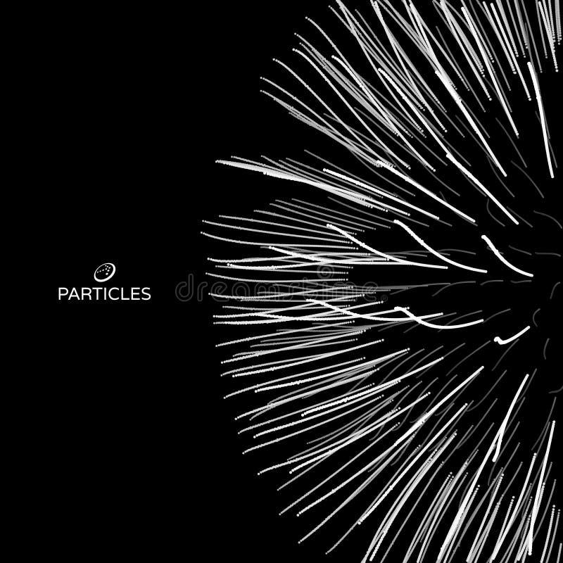 Reihe mit dynamischen Partikeln futuristische Art der Technologie 3d entziehen Sie Hintergrund Auch im corel abgehobenen Betrag vektor abbildung