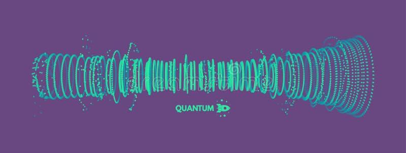 Reihe mit dynamischen Partikeln Schallwelle des Vektors Art der Technologie-3D entziehen Sie Hintergrund Auch im corel abgehobene stock abbildung