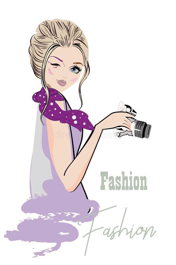 Reihe nette Mädchenskizzen der Mode mit Zusätzen Schöne Frauen lizenzfreie abbildung