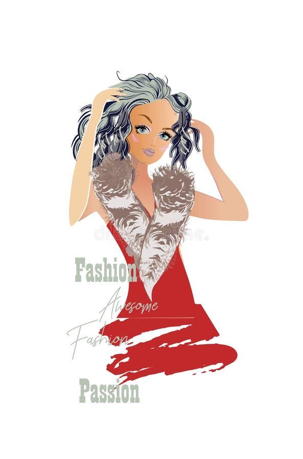 Reihe nette Mädchenskizzen der Mode mit Zusätzen Schöne Frauen vektor abbildung