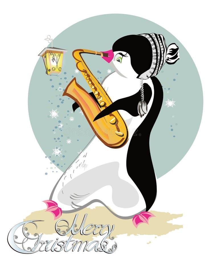 Reihe nette Pinguine, die Musikinstrumente spielen lizenzfreie abbildung